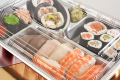 Takeaway sushi tray closed Royalty Free Stock Photo