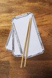 Takeaway trays and chopsticks Stock Photo