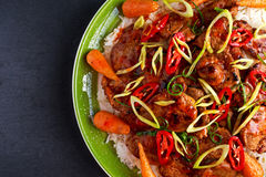 Takeawy classic pork on rice with fried in sticky souce carrots, sprinkle of chillie and spring onion. Takeawy classic pork on rice with fried in sticky souce Stock Photography