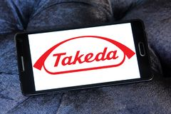 Takeda Pharmaceutical Company logo. Logo of Takeda Pharmaceutical Company on samsung mobile . Takeda is the largest pharmaceutical company in Japan and Asia and Royalty Free Stock Photography