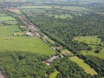 Takeley和哈特菲尔德森林鸟瞰图  免版税库存图片