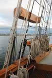 Takelung auf einem hohen Segelschiff im pazifischen Nordwesten Stockbild