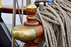 Takelung einer Segelschiffnahaufnahme Stockfotos