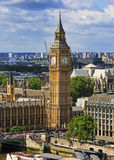 Taken from above The Elizabeth Tower and Big Ben in London, 2016 stock images