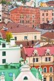 Taken av den medeltida staden. arkivbild