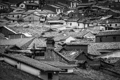 Taken av husen av Cusco, Peru arkivfoton