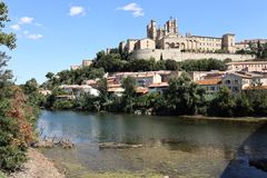 Beziers Cathedral France. Taken in Beziers, in southern France in the Languedoc region. Shows The Saint Nazaire Ancient Cathedral. The river L`orb runs along the Royalty Free Stock Photography