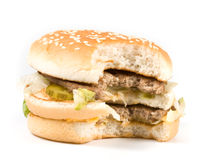 The taken a bite hamburger Royalty Free Stock Images