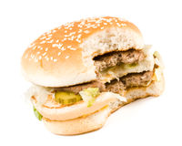 The taken a bite hamburger Royalty Free Stock Photos