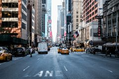 Famous view of a Manhattan road in central New York city. royalty free stock photo