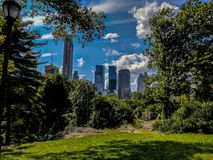 Contrast of City and Nature. Taken in Central Park looking towards the New York City skyline. The contrast between the bustling, noisy city and the calmness and royalty free stock image