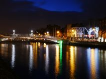 Dublins Ha`penny Bridge at night stock photo