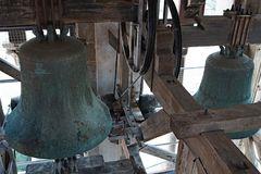 Bells in the tower of St Anastasia`s Cathedral in the Old Town of Zadar, Croatia. royalty free stock image
