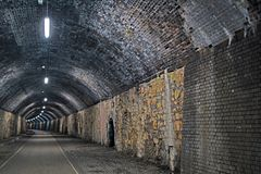 Inside the Litton tunnel on the Monsal Trail, Derbyshire. royalty free stock images
