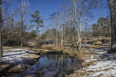 The Snowy Creek Reflection in the Winter. Taken at Flat Rock Park, in Columbus, Georgia during the Winter just after the Winter Storm of January 17, 2018 royalty free stock photo