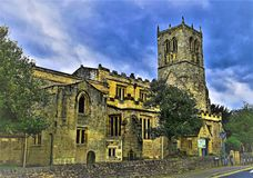 St Mary`s Church, Sprotbrough, Doncaster. Taken from the high street to show this grade 2 listed building.  Sprotbrough dates back to Domesday records and the Royalty Free Stock Images