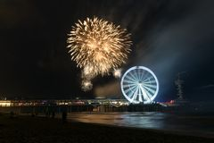 Fireworks at the dutch coast stock images