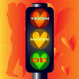 Taken Maybe OK Traffic Lights. Traffic lights with hearts and taken maybe OK text over a lovers background Royalty Free Stock Photo
