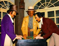 Waxwork tableau of the origin of craps royalty free stock photography