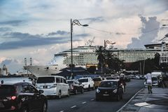 Cruise Ship docked at a port in Penang, Malaysia royalty free stock images