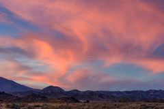 Beautiful dramatic sunset over Hungry Valley, California Royalty Free Stock Images