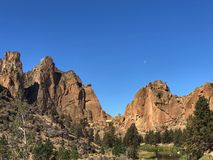 Rocky Peaks with Moon royalty free stock images