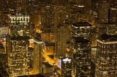 Chicago at night from Willis Tower. Taken from the Skydeck at Willis Tower, over 1300 feet above Chicago, this shot shows the vibrant city at night Stock Photo