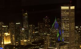 Chicago at night from Willis Tower. Taken from the Skydeck at Willis Tower, over 1300 feet above Chicago, this shot shows the vibrant city at night Royalty Free Stock Images