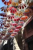Umbrella Art in Beziers. Taken in the Southern area of France, Europe, in Beziers. Some of the streets are decorated with hanging umbrellas Stock Photo