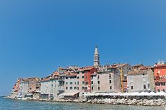 Satellite dish craze in Rovinj, Croatia. Taken on a summer`s afternoon, from the furthest part of the harbour wall, within a Croatian fishing port on the West stock photos