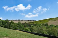 The last meadow before Stannage Edge, in idylic Haversage, Derbyshire. Taken on a sunny spring day, this captures a beautiful pastoral and picturesque view of Royalty Free Stock Photo
