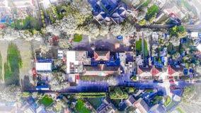Overhead bird`s eye view of school stock image