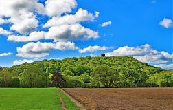 View of Peckforton Castle, on the Sandstone trail, Cheshire. Taken to capture all the colours of late spring, along the Sandstone trail, in Cheshire, England royalty free stock photography