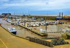 Walkway through Bridlington Harbour, East Yorkshire, April 2019. royalty free stock photography