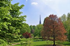 View of the Mole Antonelliana, from the Palazzo Reale gardens, Turin, Liguria, Italy. stock image