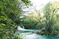 Hidden waterfalls cove in Plitvice Lakes National Park, in Croatia. stock photography