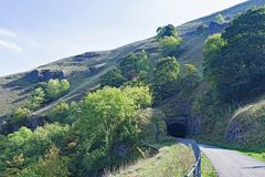 Entrance to the Cressbrook tunnel, on the Monsal trail, Peak District, Derbyshire. royalty free stock photos