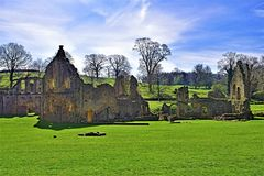 Ruins at Fountains Abbey, in North Yorkshire, in late March 2019. stock photo