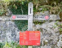 Monsal trail signage, on the Peak District Monsal trail, Derbyshire. stock photography