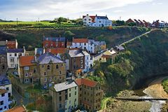 View from the top of the village of Staithes, near Scarborough, in North Yorkshire. stock images