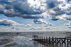 Walkway to the boats and the longest pleasure pier in the world, at South End on Sea, Essex. stock photography