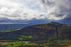Clouds gather over Win Hill, near Bamford Edge, in Derbyshire. Taken to capture the rich colourations and varied terrain, surrounding Bamford, in the Peak royalty free stock image