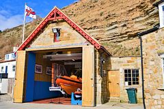 The RNLI lifeboat station in Staithes, near Scarborough, in North Yorkshire. stock images