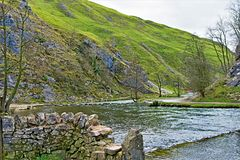 Stepping Stones, in Dovedale, Derbyshire. stock photography