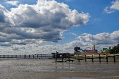 Amusements and the pleasure pier at South End on Sea, Essex. royalty free stock photos