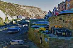 Fishermen`s cottages, in Staithes, near Scarborough, in North Yorkshire. stock photography