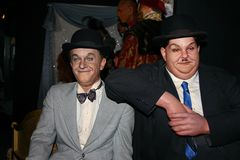 Waxwork tableau of Stan Laurel and Oliver Hardy stock photos