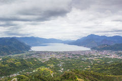 Takengon City Cloudy View From The Top of The Hill. A breathtaking cloudy view from the top of the Hill in Takengon City stock images