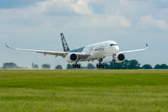 Takeoff an aircraft Airbus A350 XWB. Royalty Free Stock Image