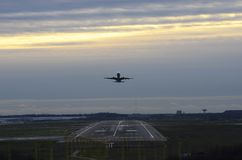 Takeoff aircraft at the airport Royalty Free Stock Images
